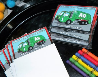 Garbarge Truck Party Favors. Recycling Truck Notepad and Crayons Set of 5. Garbage Truck Birthday. Trash Party Goody Bag Favors.  Kid Treats