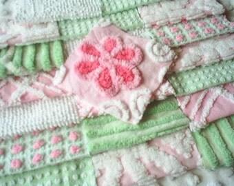 Vintage Chenille Bedspread Squares-Mint Green and Pink Morgan Jones Rosebud-SWEET