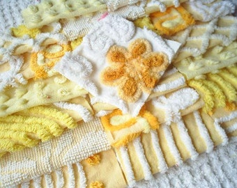 Vintage Chenille Bedspread Squares-Beautiful Yellows with Daisy