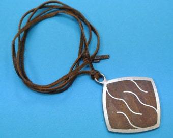Rare signed vintage 1960s Swedish handcrafted square metal pendant necklace with abstract motive and teak wood inlays