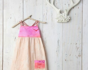 Girls dress - Strappy Pocket Dress with Quote - Birds, Sunset, Design - by bitty bambu