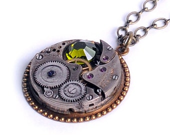 Antigue Watch Movement n Olivine Crystal Steampunk Necklace