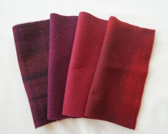Red - Wine - Hand Dyed Felted Wool Fabric Perfect for Rug Hooking, Quilting, Wool Applique, and Sewing by Quilting Acres 5215C