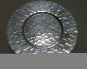 """Hammered Aluminum Plate 8"""" Round Scalloped edge ~ Metal Plate ~ Bread Plate ~ Decorative Plate ~ Hammered Aluminum ~ Aluminum Plate"""