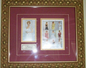 Princess Diana, Princess, Royalty, Diana, Artwork, Stamps, Collectibles, Wall Decor, Home Decor, Custom Framing, Burgandy, Gold, Gold Roses