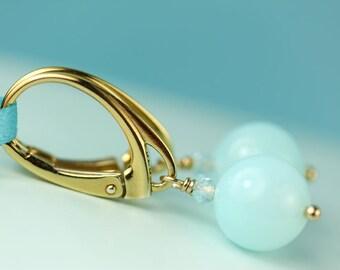 Peruvian Blue Opal Lever back earrings by art4ear gift under 25 dollars minimal jewelry free shipping in Canada, blue leverback drop earings
