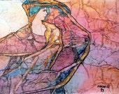 Lynne French Original Painting ZEN Inspired GYPSY RHAPSODY Watercolor On Tissue Lynne French