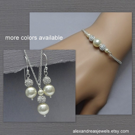bridal jewelry set bridesmaid jewelry set swarovski ivory