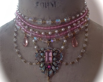 Aurora Borealis Pink Pearl and Crystal Marie Antoinette Choker set