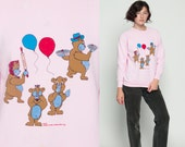 Teddy Bear Shirt 80s Sweatshirt Balloon Bear Family Picnic Retro Pullover Kawaii Animal 1980s Vintage Jumper Pastel Baby Pink Medium