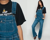 Denim Overalls Pants SILVER JEANS Bell Bottoms Women 90s GRUNGE Pants Wide Leg Baggy Flared Long Jean Pants 1990s Hipster Vintage Small