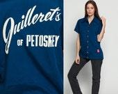 Uniform Shirt Diner Shirt Bowling 70s JUILLERET'S of Petoskey Rockabilly Blouse 80s Button Up Vintage Short Sleeve Navy Blue Large