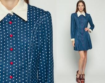 70s Mini Dress Blue Polka Dot PETER PAN Collar 60s Mod Red White Blue Long Sleeve Sheath Vintage Hipster Collared Princess Seam Large
