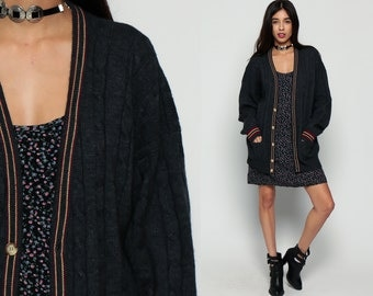 Cable Knit Cardigan WOOL Sweater Cableknit Striped Charcoal Grey Boho Button Up Grunge 80s Vintage Preppy Tennis Nerd Hipster Grandpa Large