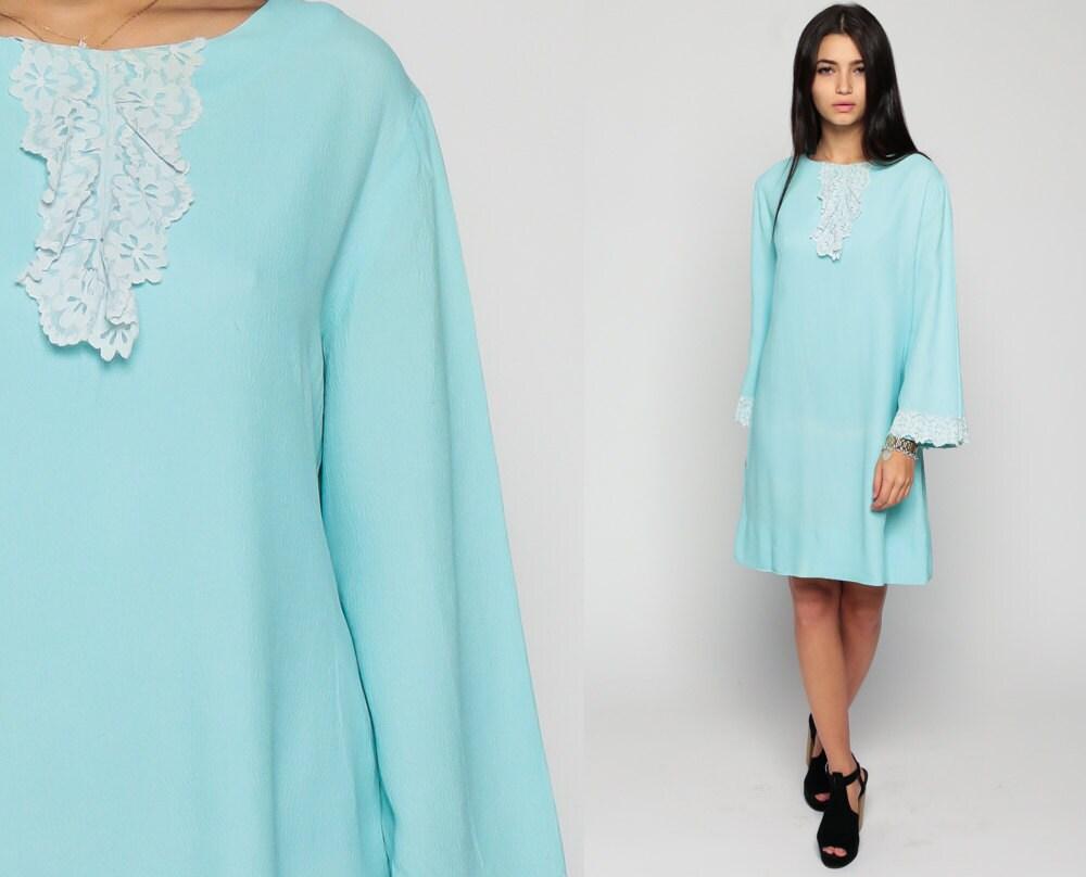 Mod Dress 60s Mini LACE BIB Ruffle Twiggy Bell Sleeve 1960s