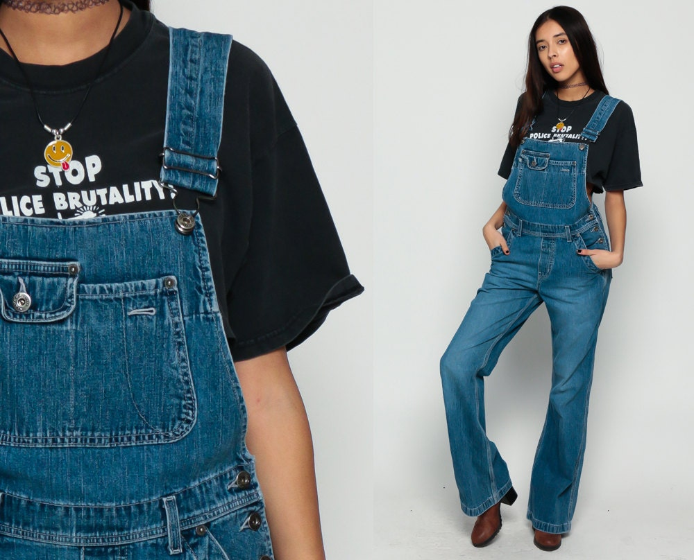 Denim Overalls Pants SILVER JEANS Bell Bottoms Women 90s
