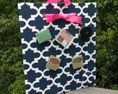 Magnetic Makeup Organizer, Sorority Sister Gift, Navy Quatrefoil, Magnetic Board, Magnet Board, Bulletin Board, Information Center
