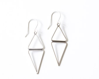 """Minimalist, modern, and lightweight sterling silver earrings of opposing triangle geometric shapes, perfect for everyday - """"Lyra Earrings"""""""