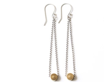 "Long brass and sterling silver dangles, an edgy and modern mixed metal pairing perfect and comfortable for everyday wear - ""Niobe Earrings"""
