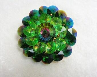 Vintage Sparkling Green Glass Brooch