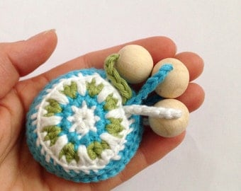 Teething toy, crochet rattle with wooden beads