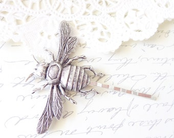 Ox Silver Bumble Bee Hair Pin - Bumblebee Bobby Pin - Woodland - Nature Wedding Hair - Insect - Fly - Moth - Bee