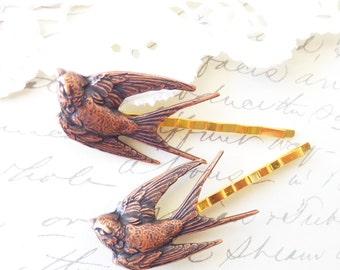 Copper Sparrow Hair Pins - Bird - Swallow - Take Flight Bobby Pin Set - Woodland - Garden Wedding - Bridal Hair