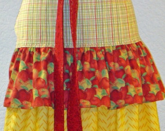 Apples And Plaid Three Tier Market Apron