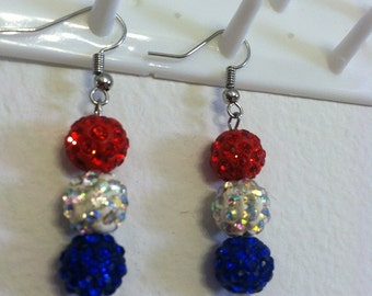 Memorial Earrings *Indepence, 4th of July--Red, White, Blue*