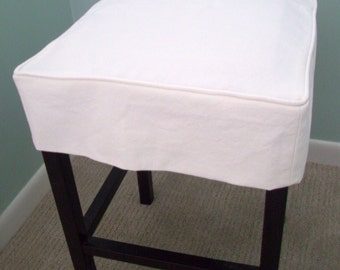 Square Barstool Slipcover, Canvas Bar Stool Cover, Washable Bar Stool Slipcover