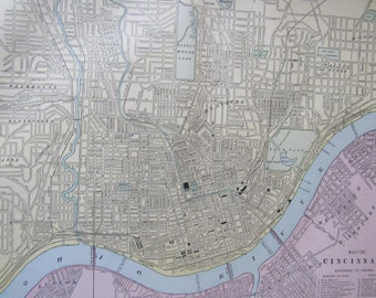 1891 City Map- Cincinnati/Cleveland- Antique Atlas Page 2-Sided 11 x 14.5 in Unframed Wall Decor