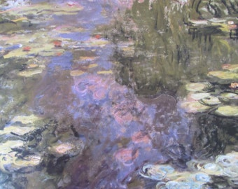 Claude Monet- Water Lilies, 1918, 13.75 x 7.25 in. Reproduction Impressionist Print, Color Plate, 1988 Book Print
