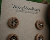 6 Wood Celtic Buttons- Maple Wood- Wooden Buttons- Eco Craft Supplies, Eco Knitting Supplies, Eco Sewing Supplies