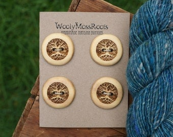 4 Cedar Tree Buttons- Yellow Cedar Wood- Wooden Buttons- Eco Craft Supplies, Eco Knitting Supplies, Eco Sewing Supplies