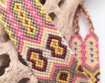 Friendship bracelet - diamond pattern - wide - cuff - embroidery floss - string - thread - macrame - woven - handmade - knotted