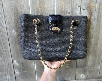 Black & Gold Straw Shoulder Bag Beach Tote With Chain Handles