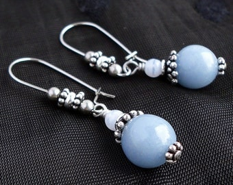 Angelite and Blue Lace Agate Earrings, Hypoallergenic Stainless Steel Earwires, Natural Gemstone