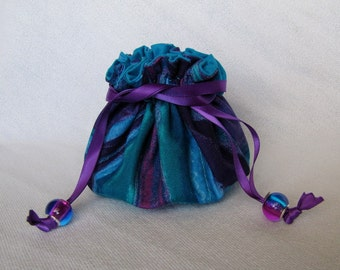 Fabric Jewelry Pouch - Medium Size - Jewelry Bag - Drawstring Tote - TURQUOISE TAKEOVER