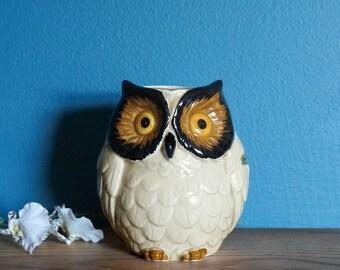 "Vintage 1960s Vase / 60s Otagiri Japan Ceramic Handpainted Owl Vase 4.5"" VGC / Mid Century Home Decor"