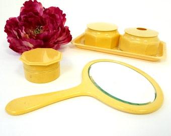 REDUCED Vintage 40s Celluloid Vanity Set / Hand Mirror Tray Hair Receiver Powder Jar Cream Jar / Boudoir Bathroom Dressing Table Accessory