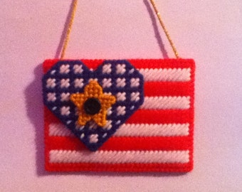 Handmade Hang It Up American Flag Wall Decor Plastic Canvas