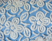 Hofmann Cornflower Blue Floral Supertuft Plush Vintage Cotton Chenille Bedspread Fabric 18 x 24 Inches
