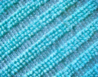 Morgan Jones Turquoise Pearls with Silver Lurex Vintage Cotton Chenille Bedspread Fabric 12 x 24 Inches