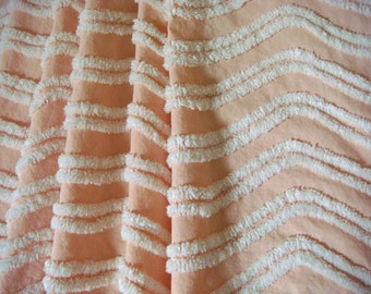 Peach Shell with White Plush Garland Vintage Cotton Chenille Bedspread Fabric 17.5 x 24 inches