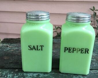 JADEITE SALT and PEPPER Jadite Salt and Pepper Stove Top Shakers Farmhouse Kitchen at A Vintage Revolution