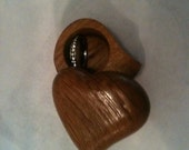 vintage Heart Shaped Wood Ring Box