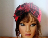Red Head Band, Buffalo Plaid Headband, Flannel Hair Accessory, HairScarf, Pin Up Hair, Rockabilly, Dread Wrap, Head Wrap, Boho, Hippie #176#