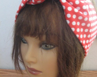 Dotted Hair Bandana, PinUp Hair, Ladies Hairband, Red and White Polka dots, Hair Band,Fabric Hair Band, Boho Bandana, RockaBilly  #225