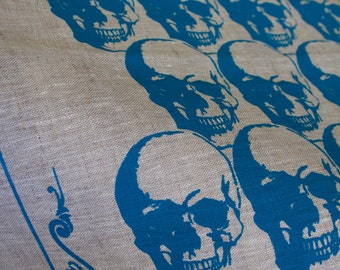 Regency Skull Teal on Natural Linen Tea Towel