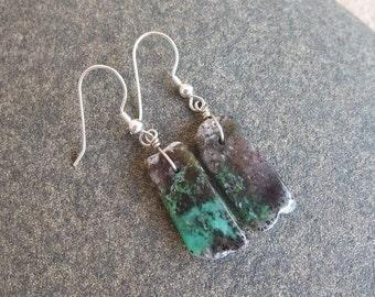 Chrysoprase Earrings -  green black organic Chrysoprase - Australian gem stone jewelry